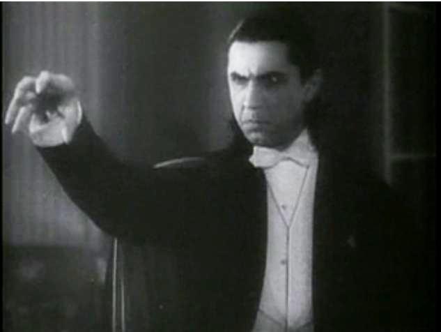 Actorul Bela Lugosi in rolul vampirului Dracula, din Transilvania